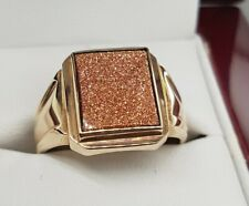 Gents Ring 9ct Gold Synthetic Brown Glitter Resin Stone Signet Ring Preloved