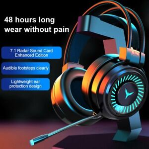 Gaming Headset LED Headphones USB 3.5mm Wired w/Mic for PC Laptop Xbox One