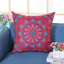Mandala Red & Purple Linen Square Cushion Cover.