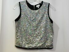 Disney Kids Girls Large 14/16 Black Silver Rainbow Sequins Tank Top Shirt