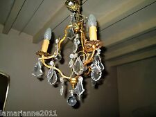 LUSTRE CAGE BRONZE STYLE LOUIS XV PAMPILLES CRISTAL CEILING LIGHT DROPS CRYSTAL