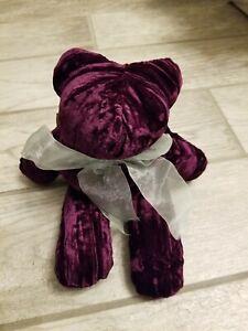 "NWT Pottery Barn Noel Bear Purple Velvet Buckwheat Lavendar Teddy 13"""