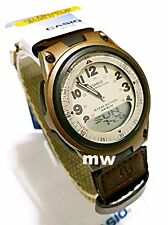 Casio Sport Beige Dial World Time Ana/Digi Cloth Band Quartz Men Watch AW-80V-5B