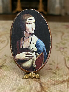 Vintage Miniature Dollhouse French Artisan Decoupage Wood Gilt Portrait Lady