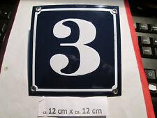 Hausnummer Emaille Nr. 3 weisse Zahl auf blauem Hintergrund 12 cm x 12 cm