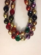 Joan Rivers Multi Color Faux Pearl Platic Beaded Goldtone Long Necklace (k245)