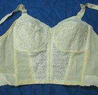 SEARS Vintage LONGLINE BRA White/Ivory 49635 BONED SIDES Lace Cups/Front SZ 38 C