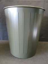 Vintage 1969 The Witt Company Army Green Metal Waste Paper Basket Trash Can Usa