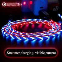2M LED Flowing Charger Micro USB Cable Fast Charging Type-C For iPhone Samsung
