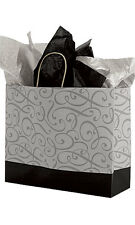 Count of 100 Large Black & Silver Swirl Paper Shopping Bag 16� x 6� x 12�
