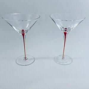 Set of 2 Vintage Ruby Red Encased Teardrop Stem MARTINI Glasses