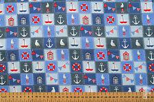 100% cotone tessuto stampato-Ahoy Design-VELA, Seagulls, Anello Galleggiante
