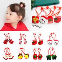 Baby Girl Christmas Elastic Hair Rope Snowman Hair Ring Headdress Rubber Band`