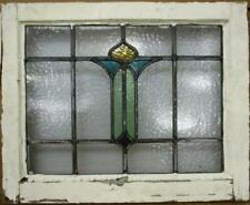 """Old English Leaded Stained Glass Window Pretty Abstract Design 20.75"""" x 16.75"""""""