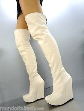 MORI ITALY WEDGES OVERKNEE HIGH HEEL BOOTS STIEFEL STIVALI LEATHER BEIGE NUDE 45