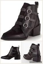 NEW Fearne Cotton Black Buckle Biker Fur Top Smart Ankle Boots Size 4 37