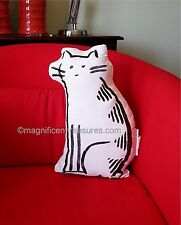 Minimalist Art Black White Embroidery Cat Shaped Accent Throw Pillow Cotton New