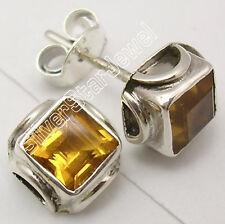 925 Sterling Silver Beautiful CUT CITRINE Gem RETRO STYLE Studs Earrings .7 CM