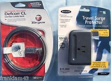Belkin Travel Surge Protector For Laptop + Targus Defcon Cable Lock For Laptop