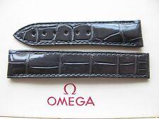 Brand NEW Omega Planet Ocean 18 mm grigio scuro COCCODRILLO Cinghia di DISTRIBUZIONE 98000347