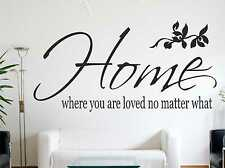 Home, Where You Are Loved No Matter What Wall Quote Wall Sticker Art Decal c24