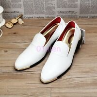 Mens Slip On Pointy Toe Flats Leather Oxfords Loafers Dress Formal Shoes Wedding