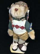 Brass Button Stuffed Bear Golfer Plush Crosby Sports Standing Golf Bag Clubs Cap