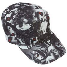 f9cce79e8fc077 Black CADET CAP White Skull Biker Gothic Adjustable Military Patrol Castro  Hat