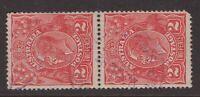 Tasmania SIMPSON'S BAY 1923 postmark (violet) on KGV pair rated 2R by Hardinge