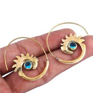 London Blue Topaz Quartz Gemstone Feather Spiral Earring n149