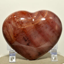"2.8"" Reddish PETRIFIED WOOD HEART Fossil Agate Crystal Palm Stone - Madagascar"