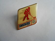 Cool Vintage 1991 USA Olympic Hockey Snickers Candy Bar Advertising Pin Pinback