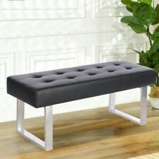 Faux Leather Long Window Seat Dining Bench Footstool Button Pouffe Hallway Stool