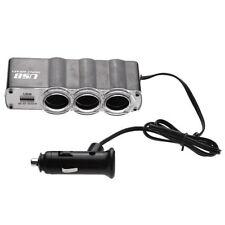 3 Way Cigarette Lighter Socket Splitter DC Power Car Adapter USB Port UK 12v 24v