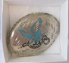 Inlay Turquoise In Silver An Image of the Mexican Eagle with a Snake Belt Buckle