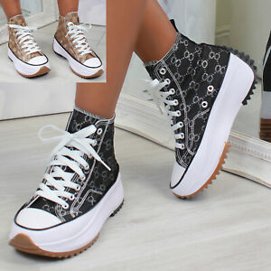 New Womens Printed Hi Top Trainers Lace Up Sneakers Fashion Shoes Sizes 3-8