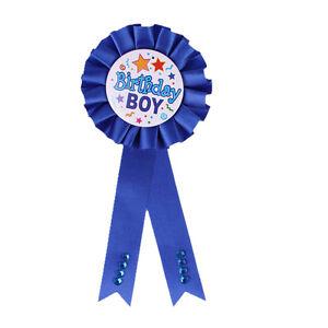 Unqiue Birthday Girl Boy Award Ribbon Rosette Badge Pin Children's Party EW J1