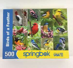 Springbok Puzzle - BIRDS OF A FEATHER - 500 piece - Cardinal,Blue Jay, Finch