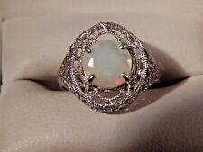 1.32ct. Round Opal Filigree Sterling Silver Ring Free Sizing