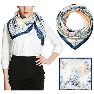 Women's Satin Square Silk Feeling Hair Scarf Wrap Headscarf Prussian Pattern BE