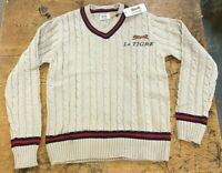 Le Tigre Sweater Men's Preppy Ivy League Style 80's knit New Tan Tags ALL SIZES