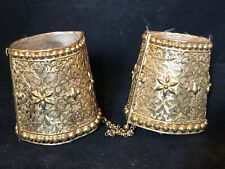 Jewelry Antique Ethnic a Identify Brass Golden XIX ° Th Pair of Bracelets
