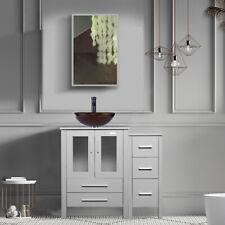 "36"" Bathroom Vanity Single W/Glass Vessel Sink Set Faucet Mirror Cabinet Gray"