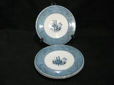Royal China Currier & Ives Saucers Low Water on the Mississippi Set of 3 Marked