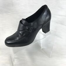 Clarks Collection Women's Ankle Boots Booties Black Leather Buckle Size 10 M