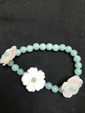 Lola Rose Bracelet With Jade Beads And Mother Of Pearl Flowers