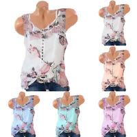 Womens Plus Size Casual Sleeveless Chiffon Blouse T Shirt Floral Tunic Tank Tops