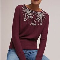 New Anthropologie Field Flower Pearl Embellished Raspberry Bow Sweater Top Med