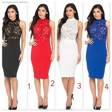 women contrast lace dress  bodycon evening party pencil cocktail USA size S-M-L