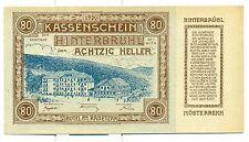 OLD AUSTRIA EMERGENCY PAPER MONEY - HELLER HINTERBRUHL 80 brown